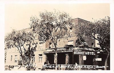 Carroll Iowa Burke Hotel Meals Bus Depot Sign 1930s Cars Real