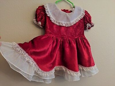 Vtg. Baby Dress Red Layered Circle Dotted swiss & Lace trim Needs Repair* 18mo?