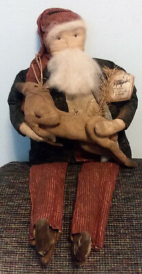 "LARGE GRUNGY PRIMITIVE COUNTRY SANTA DOLL 25 1/2"" long  Holding REINDEER 12"""