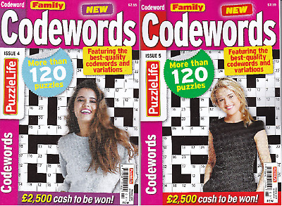 2 CODE WORD Puzzle Books 240+ Puzzles - New  (Set 127)