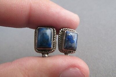 Vintage Old Pawn Sterling Cabochon Lapis Box Square Pierced Stud Earrings