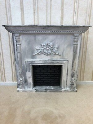 Dollhouse Miniature Black & White Marble Victorian Fireplace 1:12