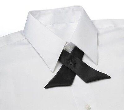 BLACK Satin Crossover Tie