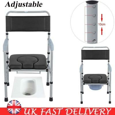 Lightweight Folding Steel Commode Chair Backrest Portable Toilet Mobility Aid UK