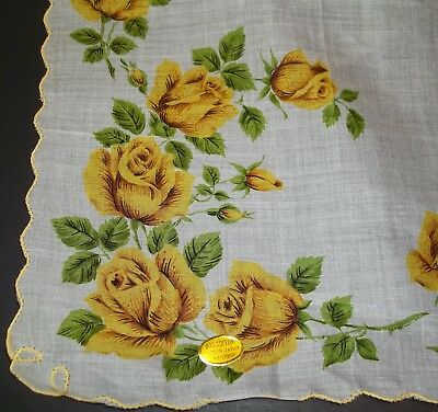 Vintage Ladies Large Size Yellow Roses floral Handkerchief Orig Label All Cotton