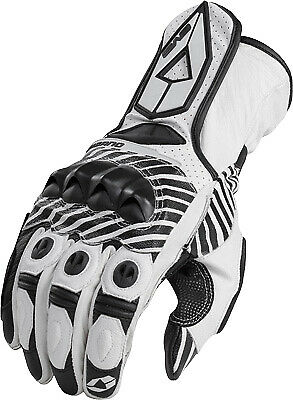 EVS Misano Sport Leather Motorcycle Gloves Md White 612106-0203