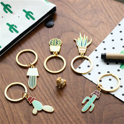 Creative Cute Alloy Plant Cactus Charm Car KeyChain Key Chain Ring Gift