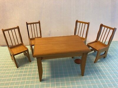 Dollhouse Miniature Wood Kitchen Table & Chairs Set 1:12  one inch scale