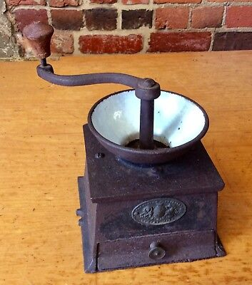 Antique CAST IRON & ENAMEL COFFEE GRINDER / MILL - T & C CLARK England