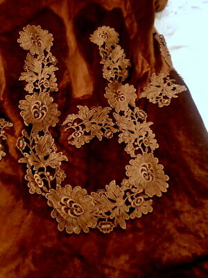 Stunning Victorian Pure Silk Velvet With Lace Appliques Fragment Gorgeous