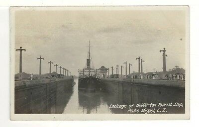 1926 Real Photo PC: Tourist Ship in Lock – Pedro Miguel, Canal Zone Sc# 96 Stamp