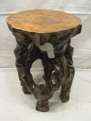 Hand Carved Live Wood Foot Stool Rustic Cabin Decor Stump Footstool Side Table