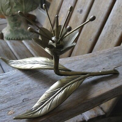 Vintage Atomic Brass Metal Flower Sculpture Mid Century Modern Retro