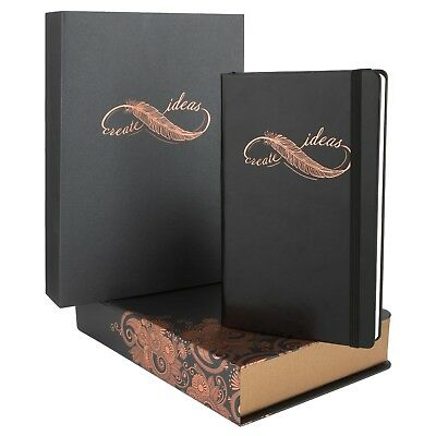 Hardcover Black Notebook For Business Women Or Men A5 Luxury Journal Rich Box