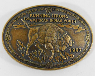 Belt Buckle Metal Running Strong American Indian Youth Collectable Bull Buckle
