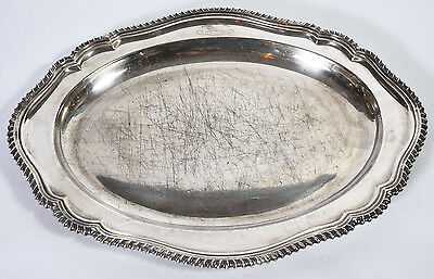 Old Silver Plated Oval Scalloped Edge Heraldic Motif Serving Platter Tray as is