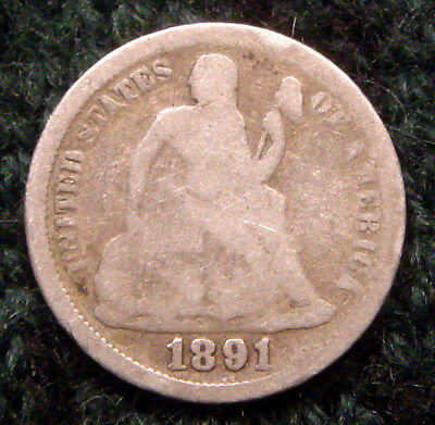 Antique 1891 Seated Liberty Dime Silver Coin Nice Condition 10C Old Estate Find