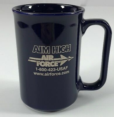 Aim High United States Air Force USAF Coffee Mug Cup Navy Blue