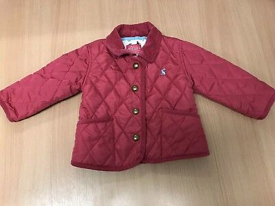 Joules Baby Girls Pink Quilted Lined Country Coat / Jacket 6-9 Months