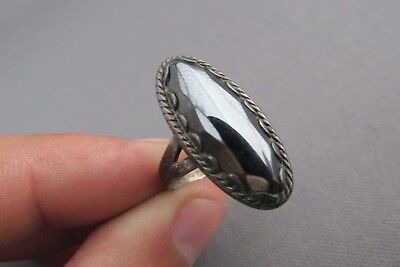 Vintage Old Pawn Bell Trading Co. Sterling Faceted Marquise Hematite Ring