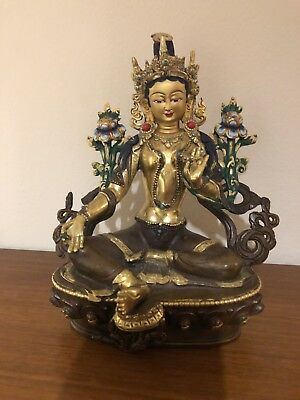 Green Tara Statue Tibetan Buddhist Gold Plated Gilt On Copper Painted Face 8""