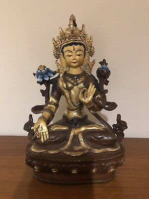 White Tara Statue Tibetan Buddhist Gold Plated Gilt On Copper Painted Face 8""