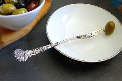 """1895 Tiffany & Co. Antique HOLLY Sterling Silver Pierced Olive/Pickle Fork 7"""""""