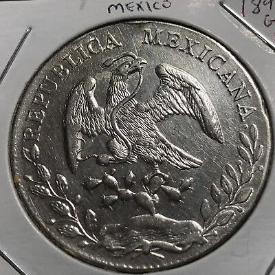 MEXICO 1891 Go RS SILVER 8 REALES CROWN COIN