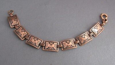 Heavy Vintage Old Pawn Copper Panel Thunderbird Tennis Bracelet