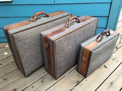 TRUE VTG 3 Pc Hartmann Luggage Tweed Leather Straps Snaps Suitcases Briefcase
