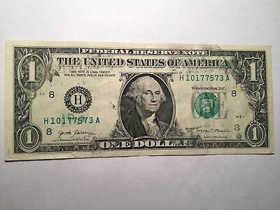 2017 $1 Dollar Federal Reserve Note - Error Ink Transfers And Smears! Nice!!