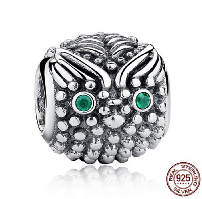 5e2526757 Authentic 925 Sterling Silver Wise Owl Charm With Dark Green CZ Charm  pandora
