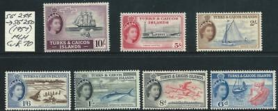 TURKS & CAICOS ISLANDS - 1957 Set to 10/-  'BADGE'  SG244/250 MLH Cv $120 [7821]