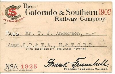Annual Pass Colorado and Southern (C&S) 1902