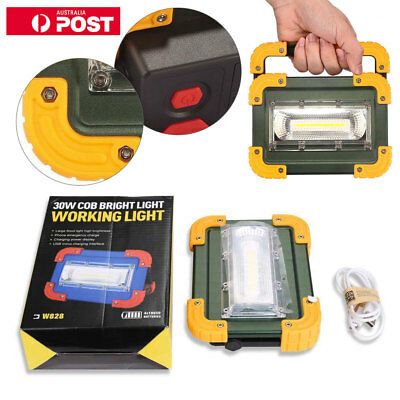 New 30W LED COB USB Rechargeable Flood Light Camping Work Spot Lamp Portable AU