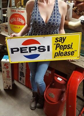 "Vintage Pepsi sign ""say PEPSI please"" 30""Advertising Stout Sign Co. St Louis MO."