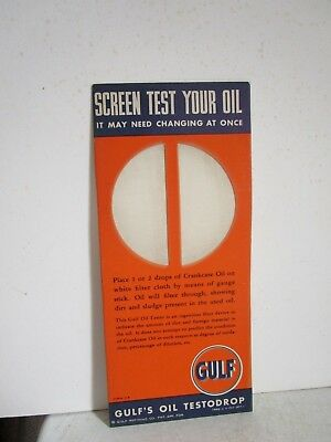 Vintage Advertising Gulf Oil Screen Tester Gas Station  Ink Blotter