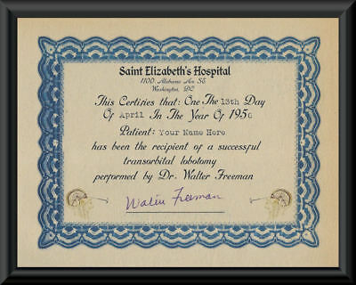 Personalized Transorbital Lobotomy Certificate Printed on 1950s Paper *101
