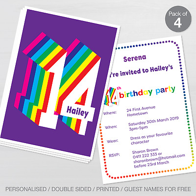 PERSONALISED 13TH BIRTHDAY Party Invitations Set Of 10