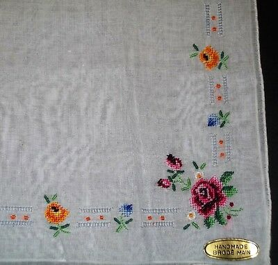 Vintage Ladies Petit Point Floral Handkerchief Handmade Brode Main Rolled Hem