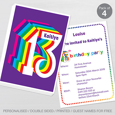 Personalised 13th Birthday Party Invitations Set Of 10 Invites A6 Postcard
