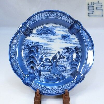A884: Great Japanese plate of really old KO-IMARI porcelain of mariner painting.