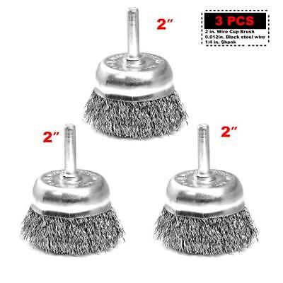 """3PC 2""""x1/4""""shank Crimped Steel Wire Cup Brush 1-1/8""""  for Power Drill"""