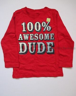 Crazy 8 100% Awesome DUDE Red Long Sleeve Tee Shirt Top Boys 3T NEW NWT