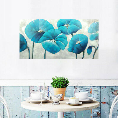 Hand Draw Modern Abstract Wall Art Oil Painting on Canvas : Blue Flowers Framed
