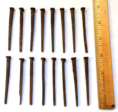 Sixteen (16) Steel Cut Square Antique Vintage Nails About 3 Inches Long