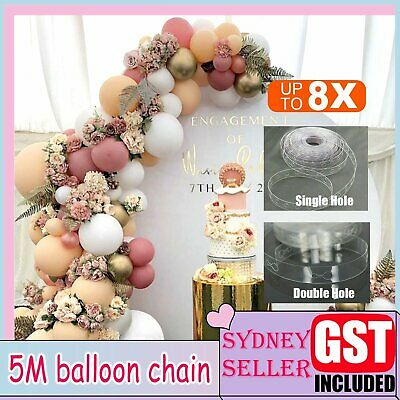 5M Balloon Decorate Strip Arch Garland Connect Chain DIY Tape Party Bar Decor AU