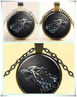 Game of Thrones Necklace Pendant - House of Stark Black Wolf Jewelry