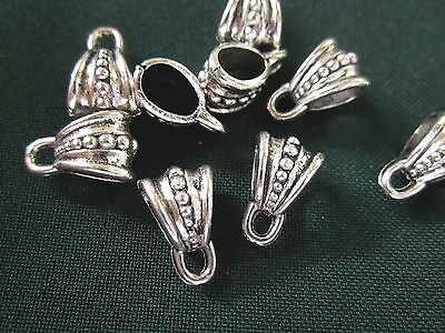 10 Antiqued Silver Coloured Charm Pendant Bails 9mmx15mm #1642 Craft Making