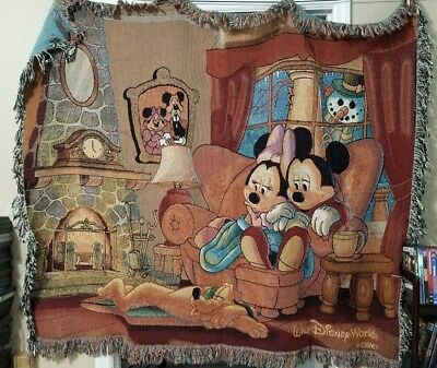 Walt Disney World Woven Throw Blanket Tapestry Mickey Mouse Minnie & Pluto 60x50